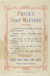 Advert for Price's Soap Mixture, reverse side